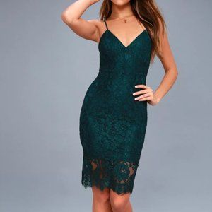 Lulus Forest Green Lace Midi Dress